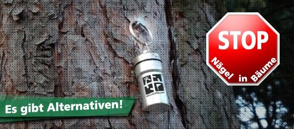 Geocacher: Nägel im Baum – die Alternative
