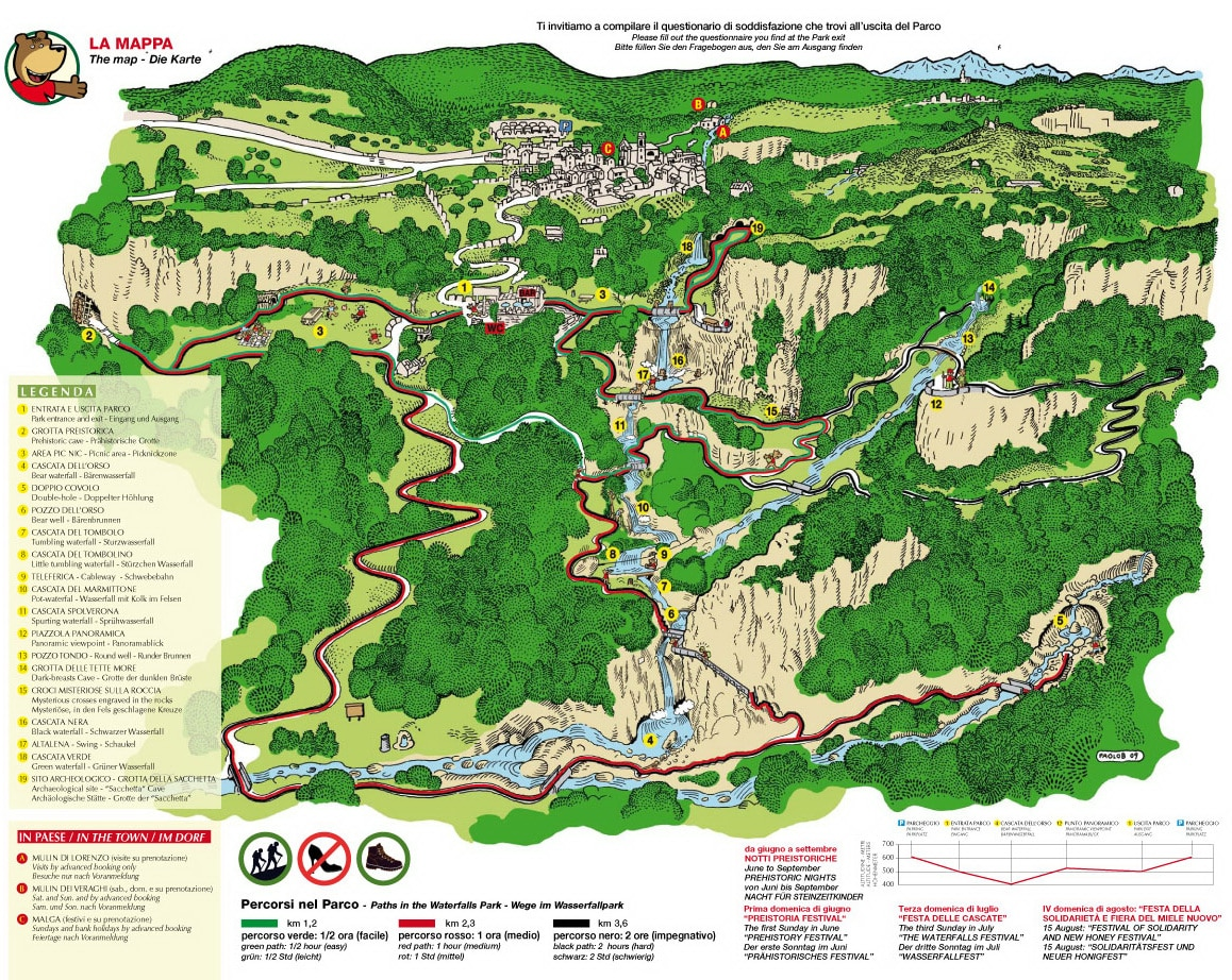 Map Parco delle Cascate