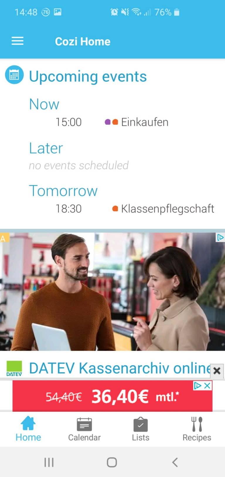 Kalenderauszug mit Werbung